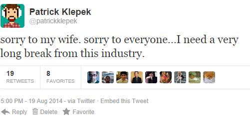Patrick Klepek, jeden z kochanków Quinn, umieścił na Twitterze przeprosiny
