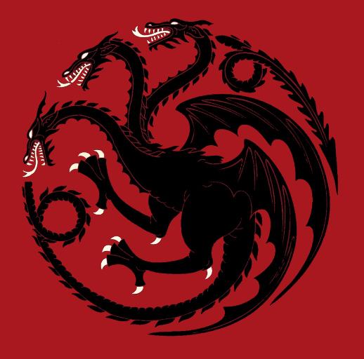 Herb rodu Blackfyre powstały przed odwrócenie tynktury heraldycznej Targaryenów. Zamiast czerwonego smoka na czarnej tarczy przedstawia czarnego smoka na tarczy czerwonej.