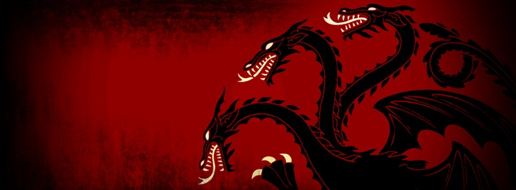 Czarny smok rodu Blackfyre - herb Targaryenów z odwróconą tynkturą.