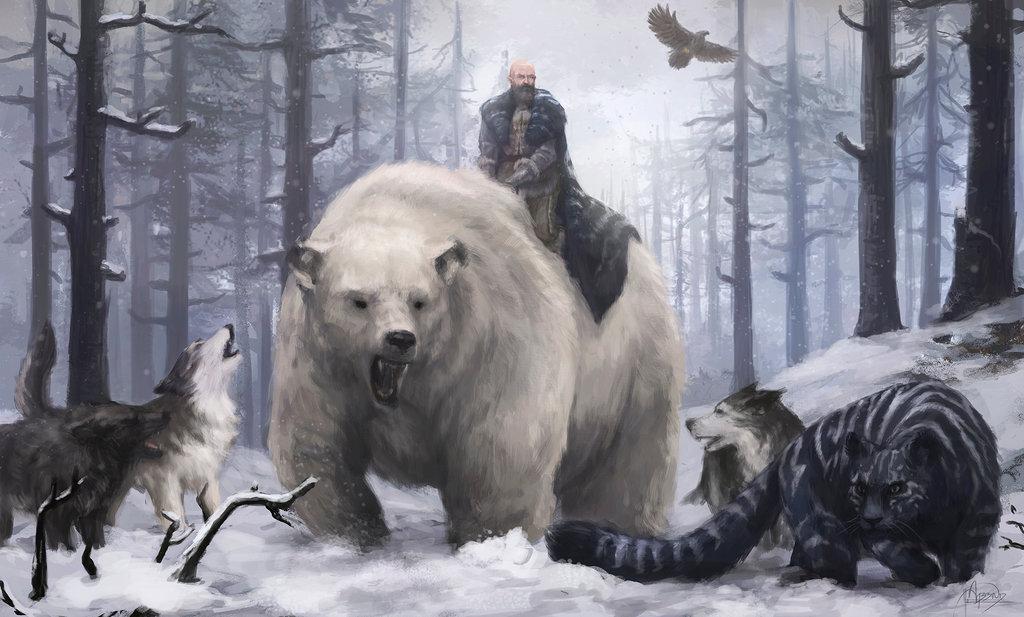 Varamyr Sześć Skór i podporządkowane mu zwierzęta.