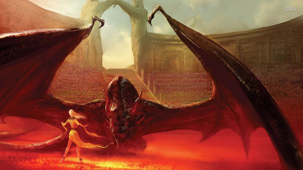 Daenerys Targaryen i Drogon.