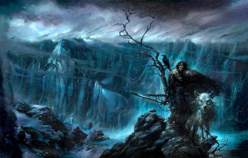 Jon, Duch i kruk Mormonta na tle Muru.