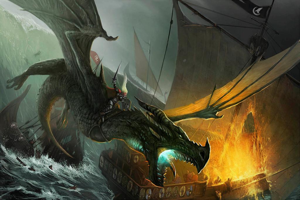Visenya Targaryen i jej smok Vhagar.