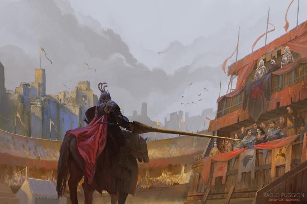 Rhaegar Targaryen wręcza koronę królowej miłości i piękna Lyannie Stark.