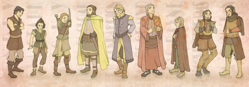 Bractwo bez Chorągwi. Od lewej: Gendry, Arya, Anguy, Cytryn, Beric Dondarrion, Thoros z Myr, Edric Dayne, Tom z Siedmiu Strumieni, Harwin.