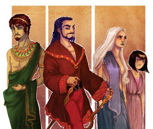 Od lewej: Hizahr, Daario, Daenerys, Missandei.