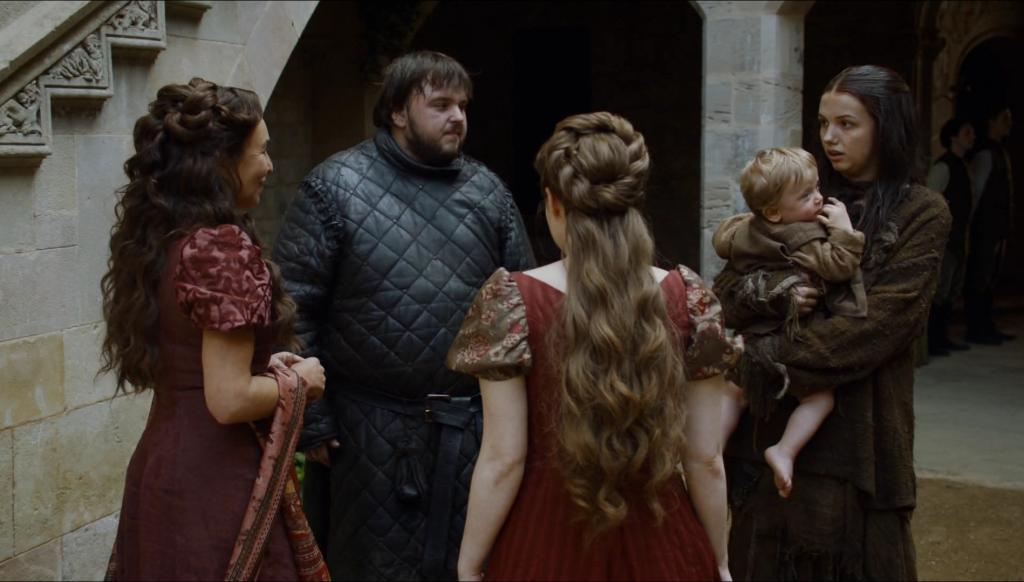 Największy plus tej sceny? Kolory. Nie cierpię, gdy w filmach osadzonych w realiach średniowiecza wszyscy noszą ciemne i szare ubrania.