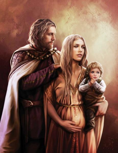 Młody król Jaehaerys I, królowa Alysanne i ich syn Aemon.