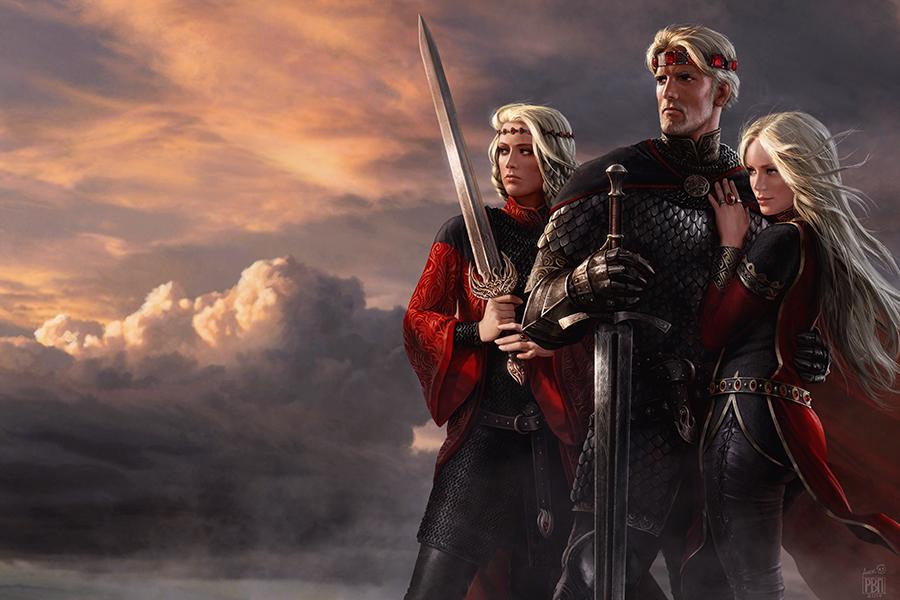 Od lewej: Visenya, Aegon, Rhaenys.