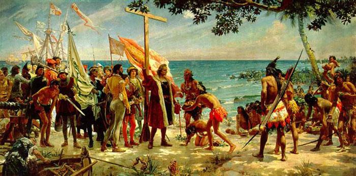 Columbus landing - Jose Garnelo y Alda