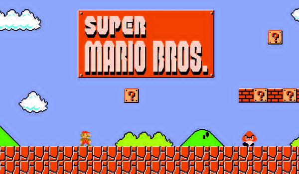 "Kadr z gry ""Super Mario Bros."""